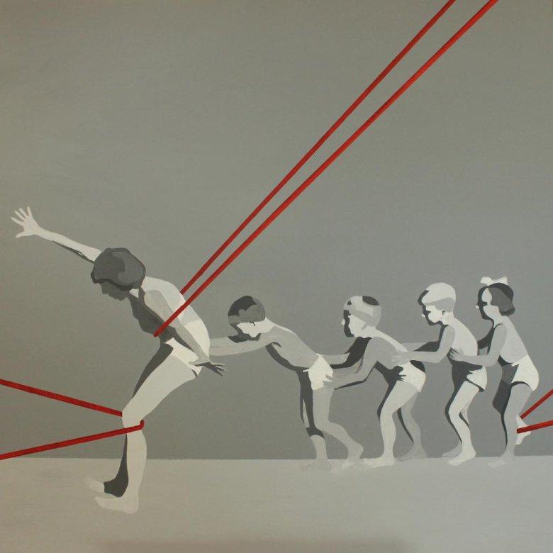 Marta Kiniewicz, Kraina szczęśliwości. Lina, 2016, akryl na płótnie, 100 x 100 cm
