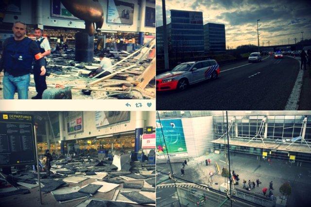 Zdjęcia z brukselskiego lotniska Zaventem po atakach terrorystycznych we wtorek 22 marca, w którym zginęło co najmniej 26 osób.