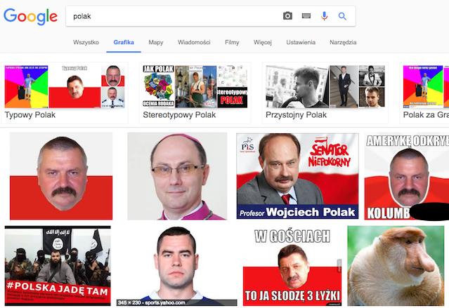 Google grafika po wpisaniu hasła Polak. Warto zwrócić uwagę na małpę, to jeden z trendów w przedstawianiu mieszkańców naszego kraju.