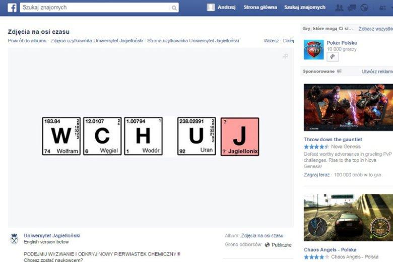 Uniwersytet Jagielloński szokuje na Facebooku. Nietypową grafiką zachęca studentów do odkrycia nowego pierwiastka.