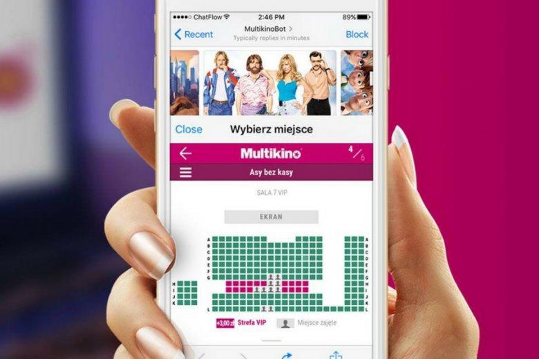 Chatbot Multikina pozwala kupować bilety, wybierać seanse, a już niedługo ma umożliwić subskrypcję informacji o premierach.