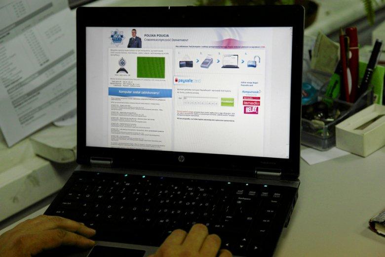 Poza podrabianiem sklepów internetowych oszuści dodatkowo potrafią infekować komputery klientów wirusami, również podszywającymi się pod... policję.