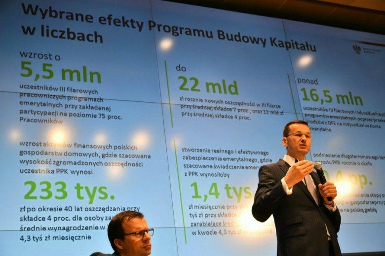 Wicepremier Morawiecki prezentuje założenia reformy OFE, kilkakrotnie od tamtej pory zmienione.