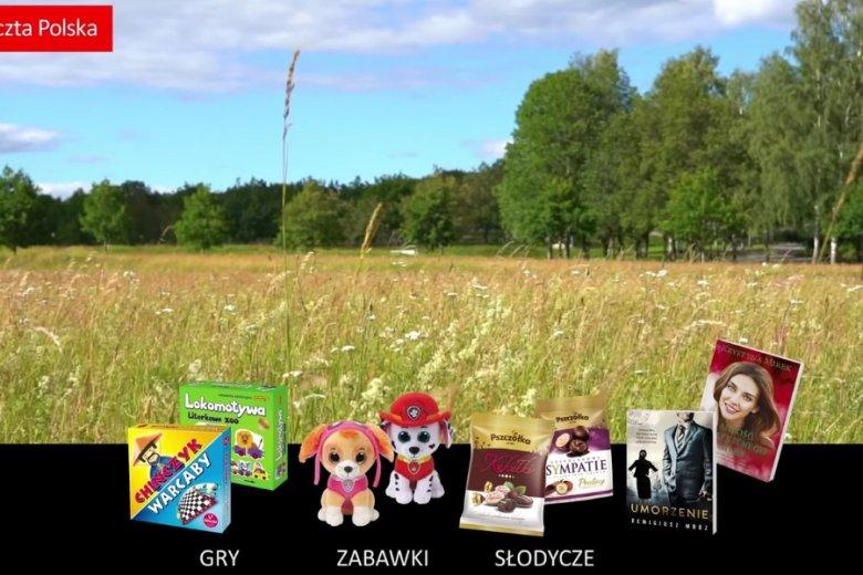 Kadr z video reklamującego ofertę handlową Poczty Polskiej.