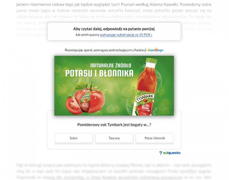 Przykład formatu reklamowego opracowanego przez start-up Adquesto. Kliknięcie prawidłowej odpowiedzi pozwala odsłonić dalszą treść czytanego w sieci artykułu