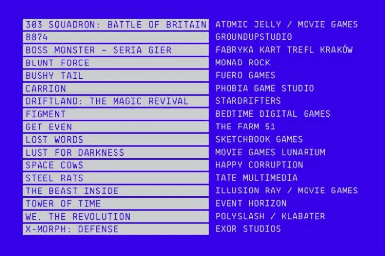 Lista niezależnych gier i ich producentów, którzy powalczą o nagrody w organizowanym na festiwalu konkursie Pixel Awards