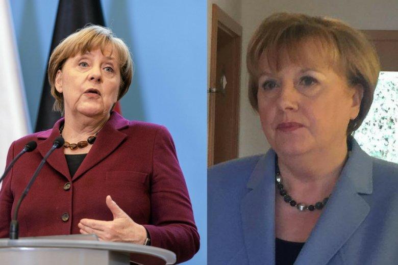 Angela Merkel i jej oficjalna dublerka, Ursula Wanecki.