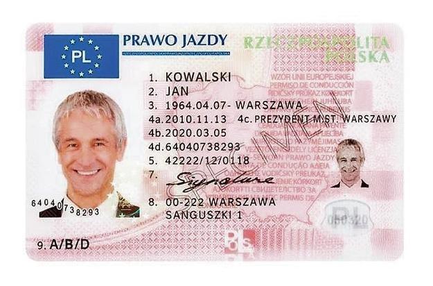 Wzór dokumentu prawa jazdy obowiązujący w Polsce.