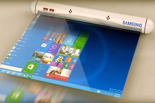 """Opatentowany elastyczny panel wyświetlacza Samsunga może obracać się wokół głównego korpusu i jest chowany """"w tubie""""."""