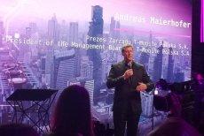 Andreas Maierhofer, prezes zarządu T-Mobile Polska podczas uruchomienia pierwszej w Polsce sieci 5G w centrum Warszawy