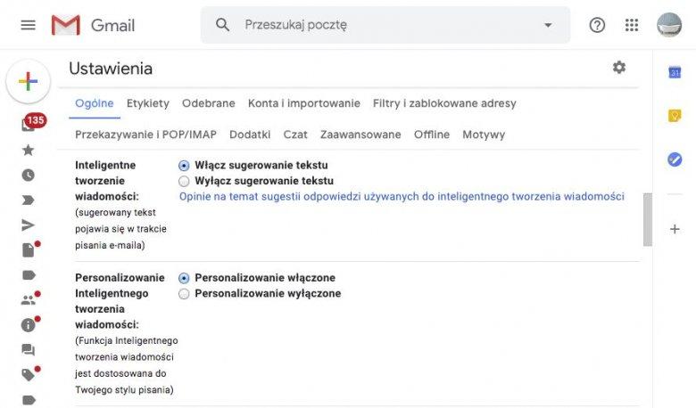 Dzięki uczeniu maszynowemu Gmail jest w stanie przewidzieć nasze myśli zanim przeniesiemy je na ekran. Niestety opcja nie jest jeszcze dostępna w języku polskim.