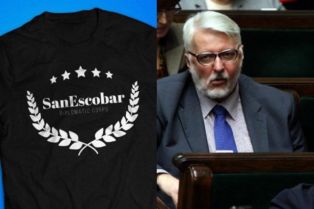 Minister Waszczykowski może być dumny. Jego slogan znalazł się na koszulce.
