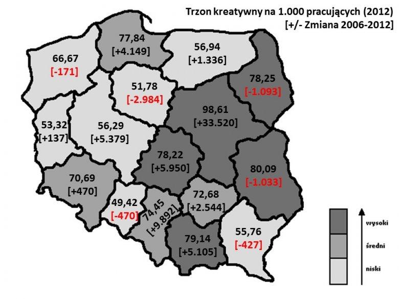 Zmiany liczebności trzonu kreatywnego w polskich województwach, 2006-2012.