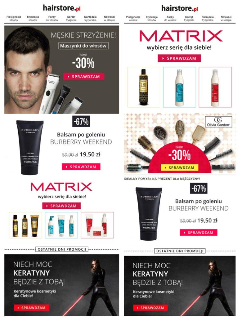 Zdj. 2 - Przykład personalizowanych wiadomości marki Hairstore.pl, w których oferta dostosowana była do potrzeb kobiet i mężczyzn.