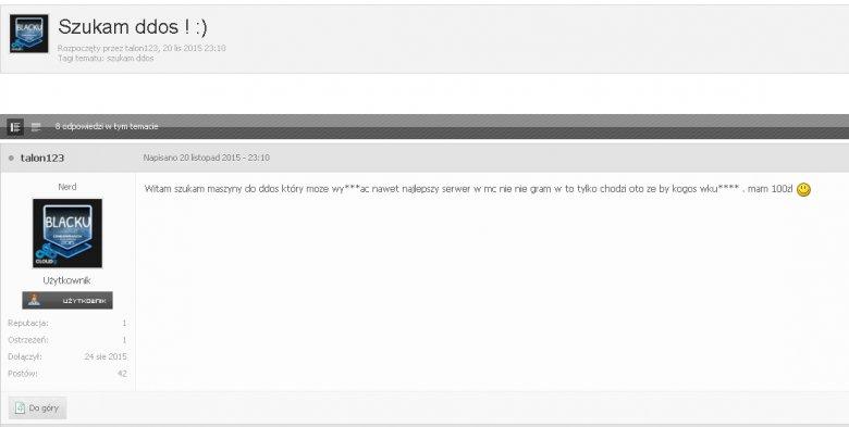 Zapytanie na liście dyskusyjnej o sposób ataku DDoS na serwer gier.