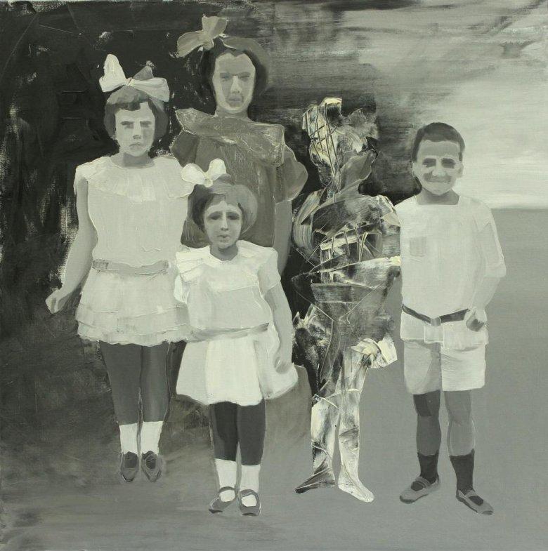 Marta Kiniewicz, Kraina szczęśliwości. Dzieci, 2015, olej na płótnie, 100 x 100 cm.