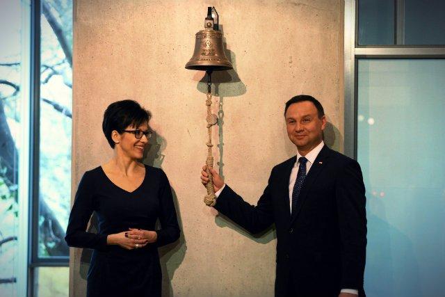 Prezes Giełdy Małgorzata Zaleska oraz prezydent RP Andrzej Duda podczas inauguracji obchodów 25 lecia Giełdy Papierów Wartościowych