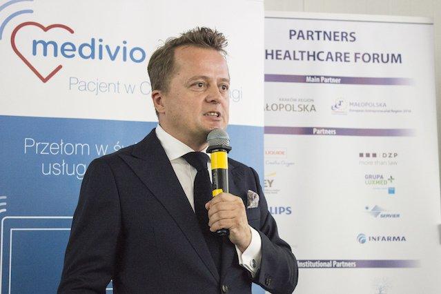 Prezentacja platformy Medivio. Na zdjęciu Mariusz Borkowski
