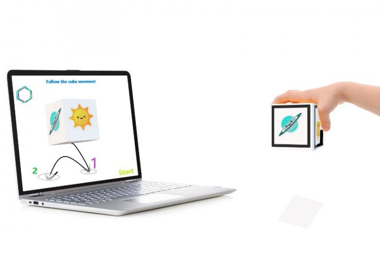 Wizualizacja wykorzystywanej w terapii autyzmu kostki opracowanej przez Kinetic - Centrum Nowoczesnej Audiologii