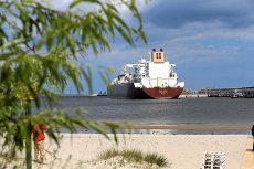 """Metanowiec """"Al-Nuaman"""" z pierwszą dostawą LNG do terminalu w Świnoujściu (czerwiec 2016)"""