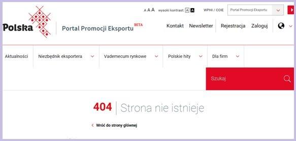 Promowana w mediach przez kilka miesięcy, strona portalu promocji polskiego eksportu