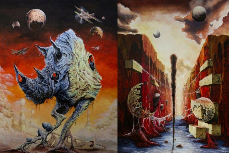 Obrazy Szymona Chwalisza przypominają duchem prace Zdzisława Beksińskiego.