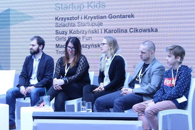Członkowie panelu Startup Kids. Od lewej: Maciej Troszyński, Suzy Kobrzyński, Karolina Cikowska, Krzysztof Gontarek, Krystian Gontarek.