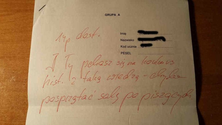 Autentyczny komentarz nauczyciela pod pracą na konkurs historyczny.