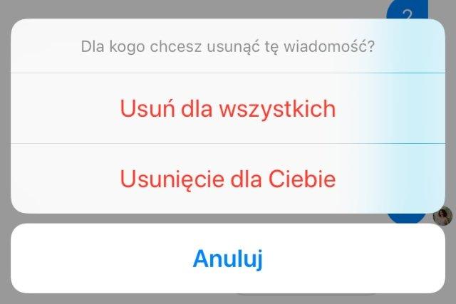 """Aby usunąć wiadomość po obu stronach czatu, należy wybrać opcję """"Usuń dla wszystkich""""."""