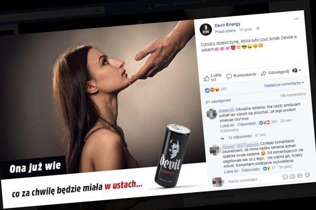 Reklamą napoiju Devi Energy oburzone są nie tylko panie, większość panów również puka się w głowę na jej widok.