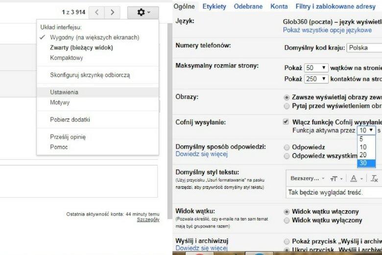"""Szukamy funkcji """"Ustawienia"""" (po lewej), a w niej """"Ogólne"""", a następnie - """"Cofnij wysłanie"""" (po prawej)."""