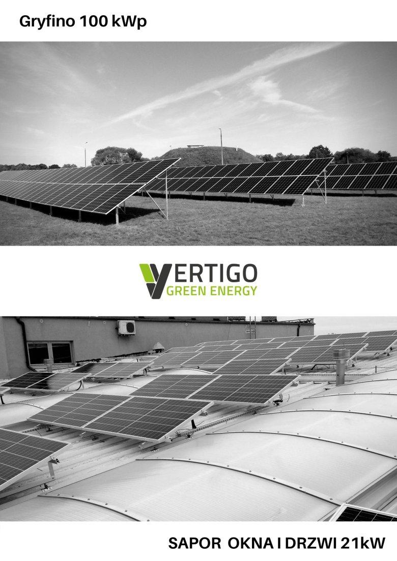 Są to dwie Instalacje zrealizowane przez Vertigo Green Energy. Górna zlokalizowana w miejscowości Gryfino o mocy 100 kWp. Na dolnym zdjęciu pokazany jest fragment elektrowni słonecznej zrealizowany dla klienta biznesowego, Sapor Okna i Drzwi, o mocy 24 kW