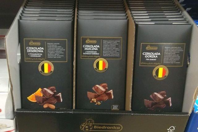W ofercie Biedronki znajduje się kilka rodzajów belgijskich czekolad - większość, jak te na zdjęciu, faktycznie została wyprodukowana w Belgii