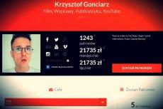 Zbiórka Krzysztofa Gonciarza przynosi mu ponad 20 tysięcy złotych miesięcznie