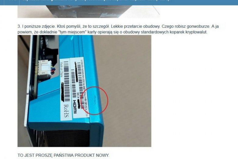 """Użytkownik wykopu dostał kartę graficzną, którą wyciągnięto z koparki kryptowalut: """"bierz, kliencie, co jest, i nie narzekaj""""."""