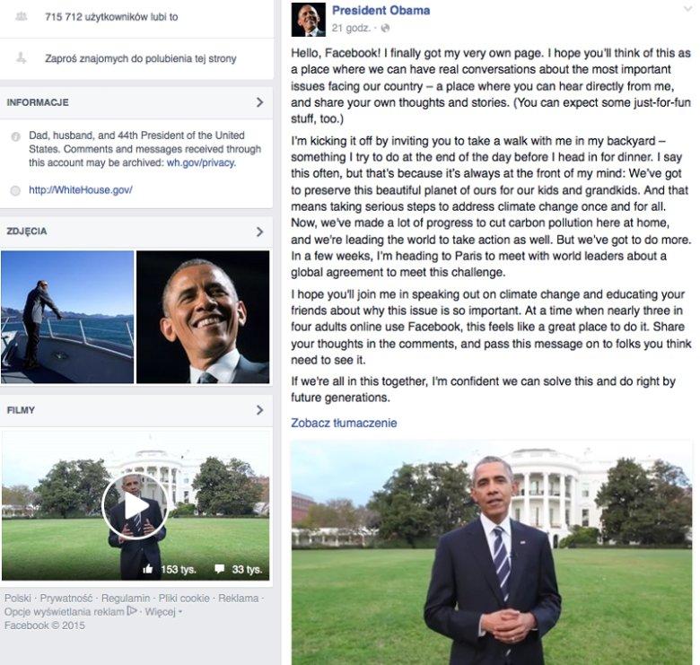 Prezydent Barack Obama dołączył do międzynarodowej społeczności Facebooka. W pierwszym opublikowanym przez siebie poście przywitał się z internautami i zachęcił do dyskusji na ważne tematy