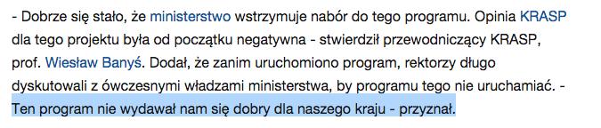 Jedna z opinii przewodniczącego KRASP.