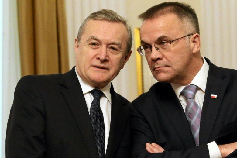 Minister kultury Piotr Gliński oraz jego zastępca, Jarosław Sellin.