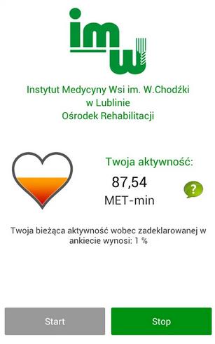 Zrzut ekranu aplikacji do zdalnego monitoringu aktywności