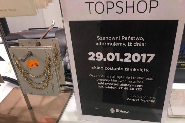 Marka TopShop zamyka swój jedyny sklep w Polsce.