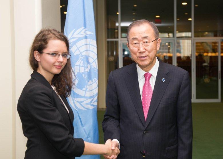 Młodzieżowa Delegatka Polski do ONZ wraz z Sekretarzem Generalnym Ban Ki Moonem