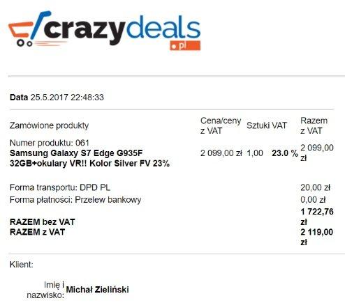 Potwierdzenie zakupu na kwotę 2119 zł