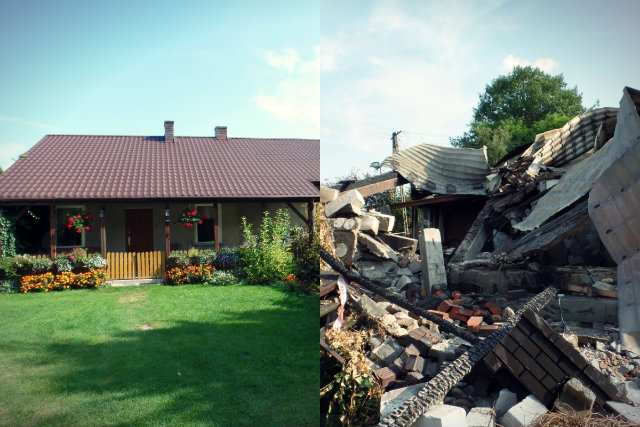 Zamiast pięknego 120-metrowego domu z jednej z posesji w Wiktorowie koło Nasielska wyziera dzisiaj wielka dziura