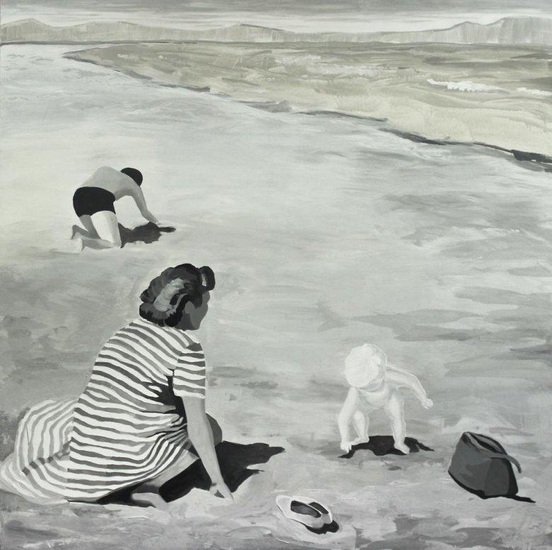 Marta Kiniewicz, Kraina szczęśliwości. Plaża, 2016, akryl na płótnie, 150 x 150 cm