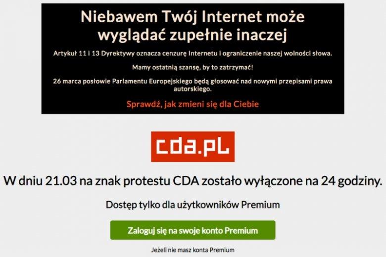 Serwis CDA.pl wyłączył się na 24 godziny w ramach protestu przeciwko tzw. ACTA 2.