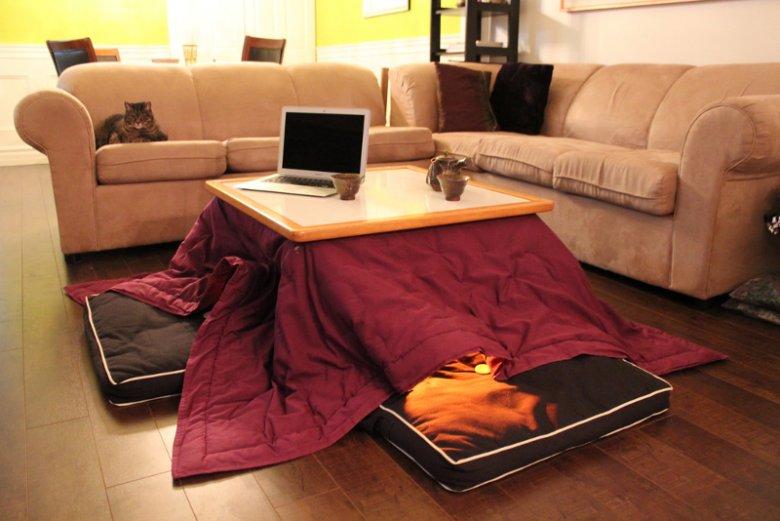 Kotatsu to urządzenie grzewcze montowane pod blatem stolika z doczepionym kocem lub kołdrą
