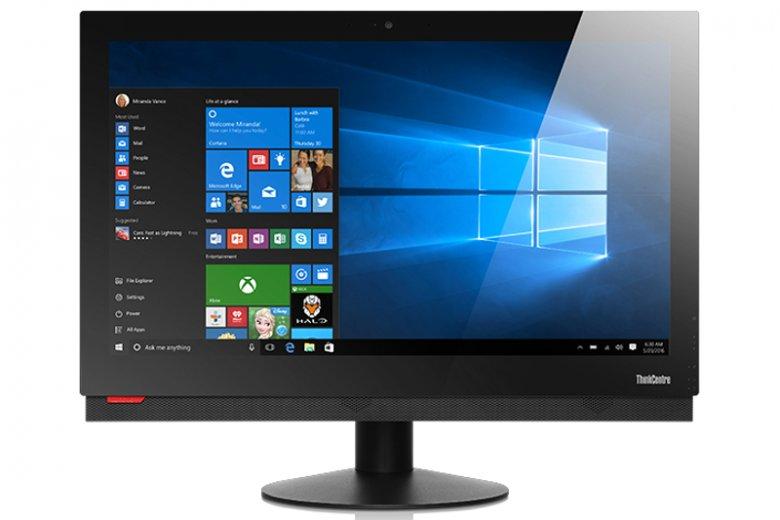 Komputery All-in-One (AiO) są popularne w biurach, hotelach, sklepach, urzędach czy szpitalach. Ich głównym atutem są kompaktowe rozmiary oraz szczątkowe okablowanie. Na zdjęciu model Lenovo ThinkCentre M910z All-in-One Desktop