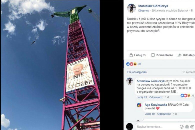 Post białostockiego przedsiębiorcy udostępniono na Facebooku ponad dwieście razy.