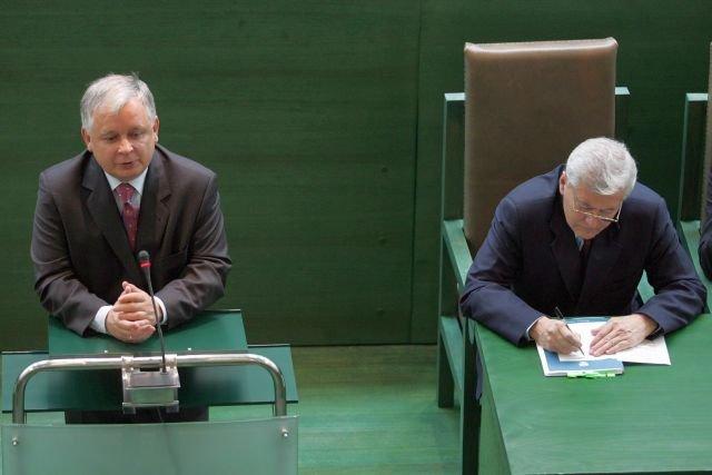 Lech Kaczyński podczas Zgromadzenia Ogólnego sędziów Sądu Najwyższego