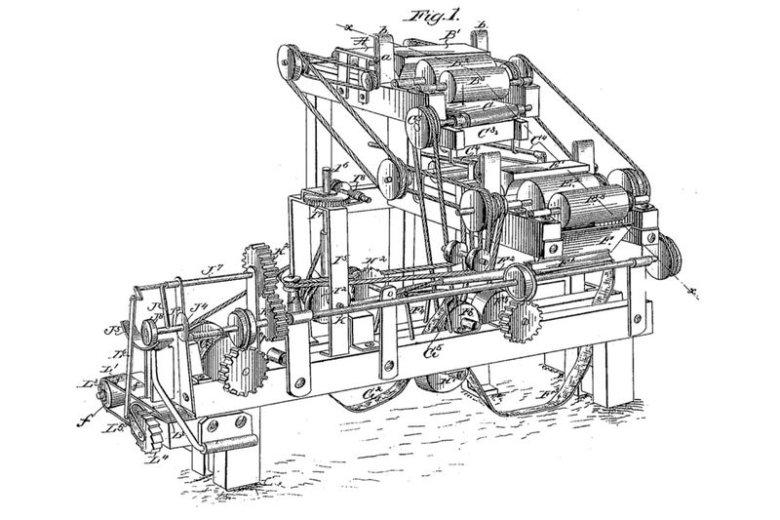 Załączony do patentu projekt automatycznej maszyny do masowej produkcji papierosów, wynalezionej przez Jamesa Alberta Bonsacka w 1880 roku
